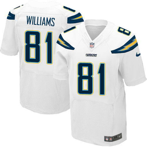 Nike Men's Los Angeles Chargers #81 Mike Williams White Stitched NFL New Elite Jersey