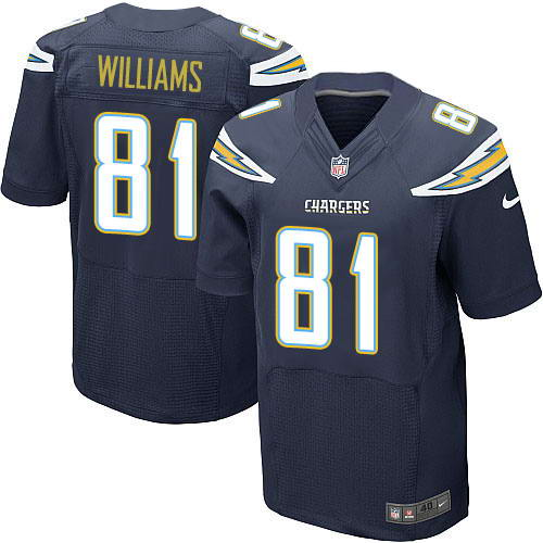 Nike Men's Los Angeles Chargers #81 Mike Williams Navy Blue Team Color Stitched NFL New Elite Jersey