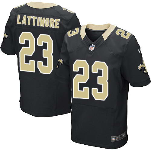Nike Men's New Orleans Saints #23 Marshon Lattimore Black Team Color Men's Stitched NFL Elite Jersey