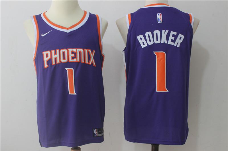 Suns #1 Devin Booker Purple Nike Jersey