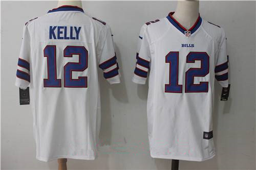 Nike Buffalo Bills #12 Jim Kelly Retired White Road Stitched NFL Men's Game Jersey