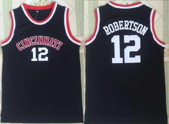 Men's Cincinnati Bearcats  Oscar Robertson #12 Black College Basketball Retro Swingman Stitched NCAA Jersey