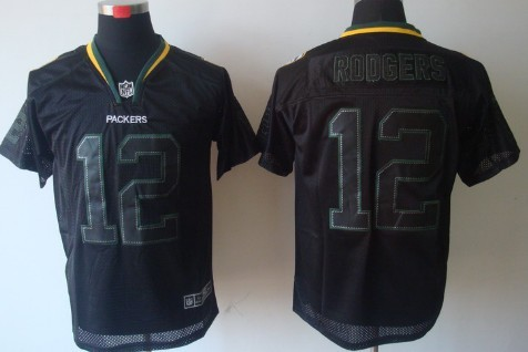 Nike Green Bay Packers #12 Aaron Rodgers Lights Out Black Elite Jersey