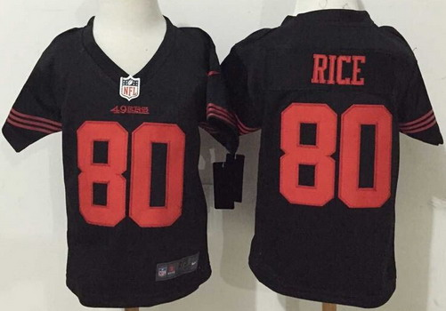 Toddler San Francisco 49ers #80 Jerry Rice Black Retired Player 2015 NFL Nike Jersey