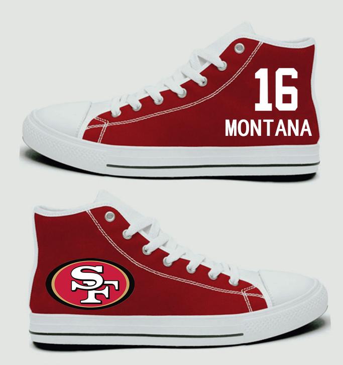 NFL San Francisco 49ers 16#  Joe Montana  Scarlet Hand Painted Unisex Custom Centre-TOP Canvas Shoes