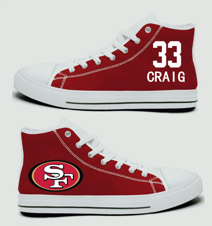 NFL San Francisco 49ers 33# Roger Craig  Scarlet Hand Painted Unisex Custom Centre-TOP Canvas Shoes