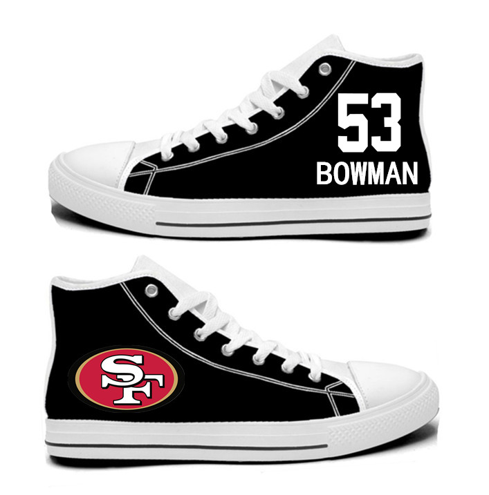 NFL San Francisco 49ers 53# NaVorro Bowman black Hand Painted Unisex Custom Centre-TOP Canvas Shoes