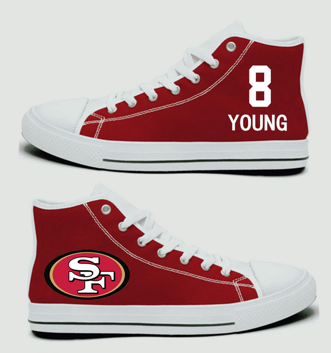 NFL San Francisco 49ers 8#  Steve Young  Scarlet Hand Painted Unisex Custom Centre-TOP Canvas Shoes