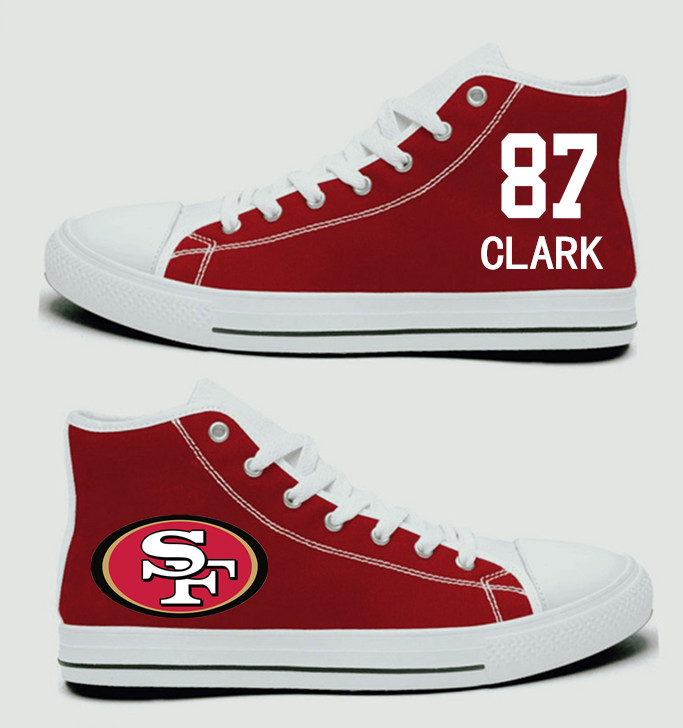 NFL San Francisco 49ers 87# Dwight Clark  Scarlet Hand Painted Unisex Custom Centre-TOP Canvas Shoes