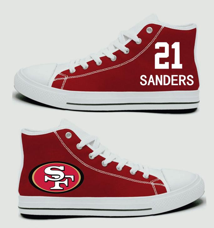NFL San Francisco 49ers 21#  Deion Sanders Scarlet Hand Painted Unisex Custom Centre-TOP Canvas Shoes