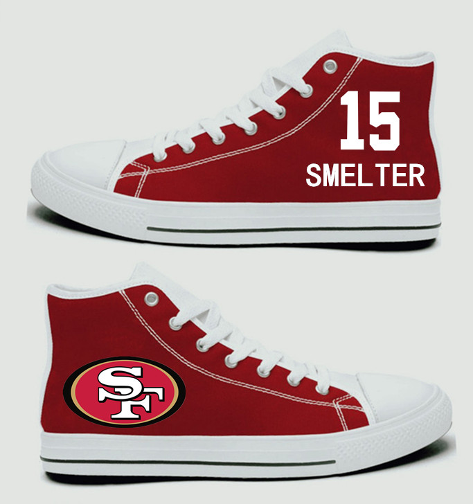 NFL San Francisco 49ers 15#  DeAndre Smelter Scarlet Hand Painted Unisex Custom Centre-TOP Canvas Shoes