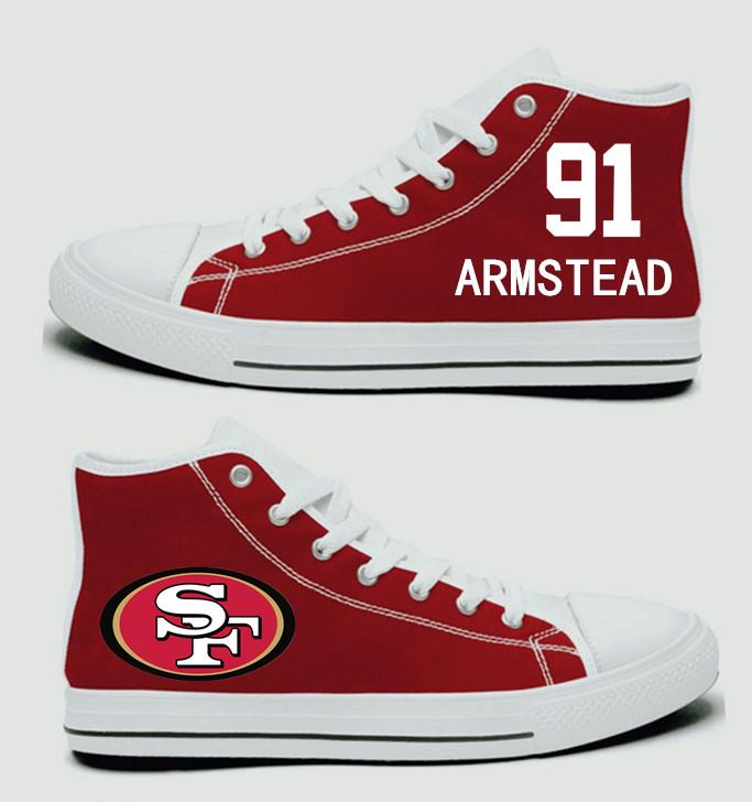 NFL San Francisco 49ers 91#  Arik Armstead  Scarlet Hand Painted Unisex Custom Centre-TOP Canvas Shoes