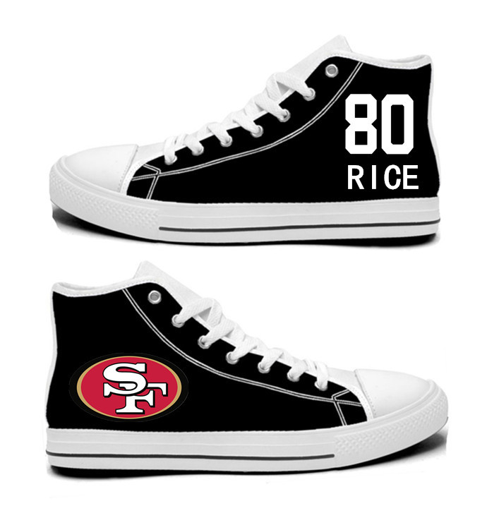 NFL San Francisco 49ers 80#   Jerry Rice   black Hand Painted Unisex Custom Centre-TOP Canvas Shoes_副本