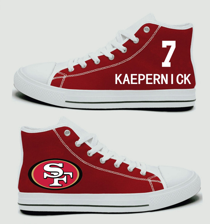 NFL San Francisco 49ers 7# Colin Kaepernick carlet Hand Painted Unisex Custom Centre-TOP Canvas Shoes