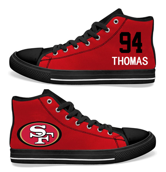NFL San Francisco 49ers 94#  Solomon Thomas   black red Hand Painted Unisex Custom Centre-TOP Canvas Shoes