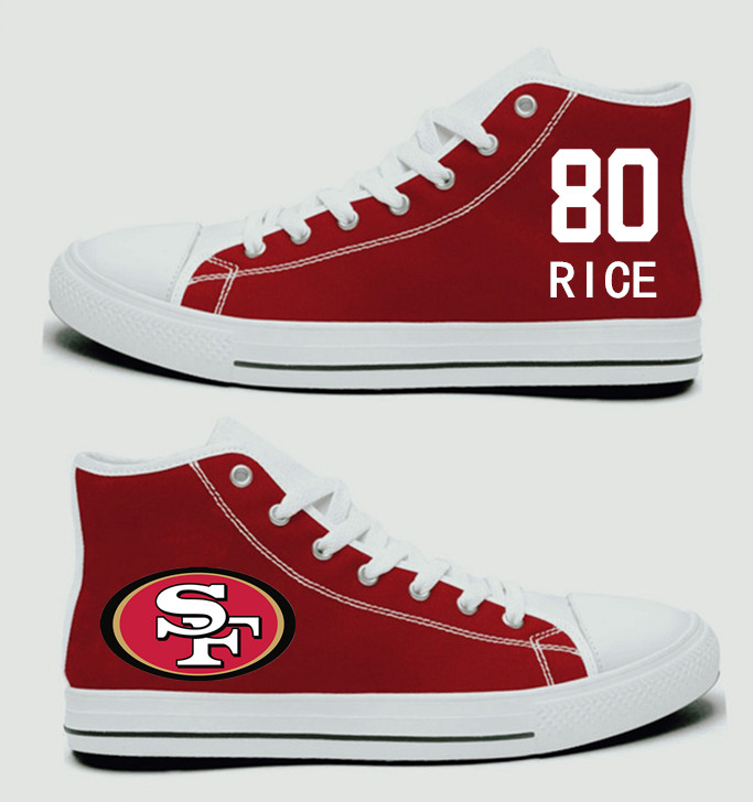 NFL San Francisco 49ers 80#   Jerry Rice   Scarlet Hand Painted Unisex Custom Centre-TOP Canvas Shoes