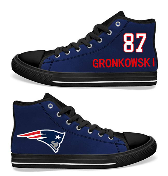 NFL New England Patriots 87# Julian Edelman  black Blue Hand Painted Unisex Custom Centre-TOP Canvas Shoes
