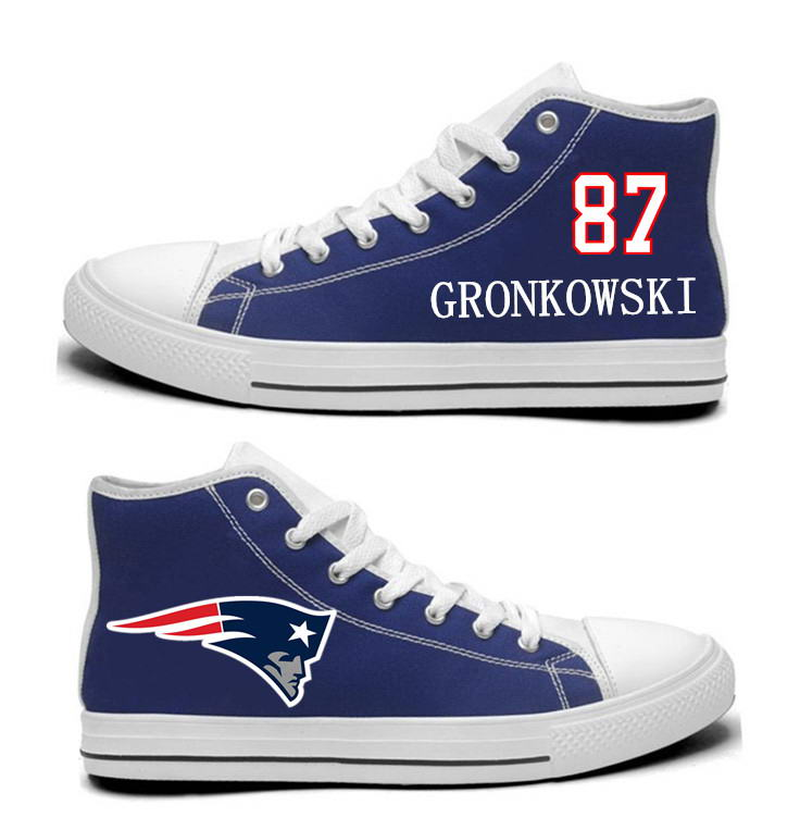 NFL New England Patriots 87# Julian Edelman  Navy Blue Hand Painted Unisex Custom Centre-TOP Canvas Shoes