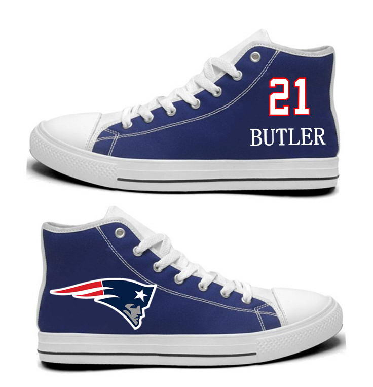 NFL New England Patriots 21# Malcolm Butler  Navy Blue Hand Painted Unisex Custom Centre-TOP Canvas Shoes