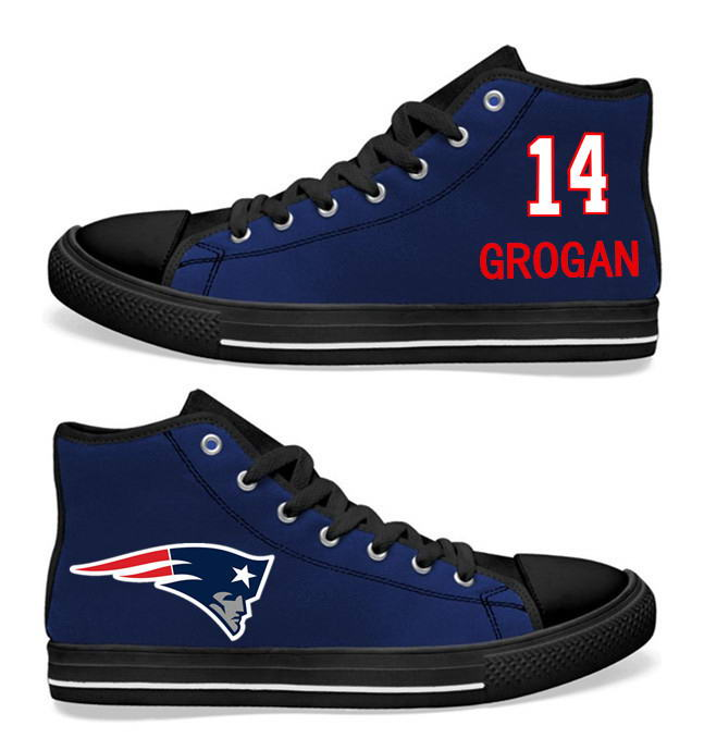 NFL New England Patriots 14# Brandin Cooks  black Blue Hand Painted Unisex Custom Centre-TOP Canvas Shoes