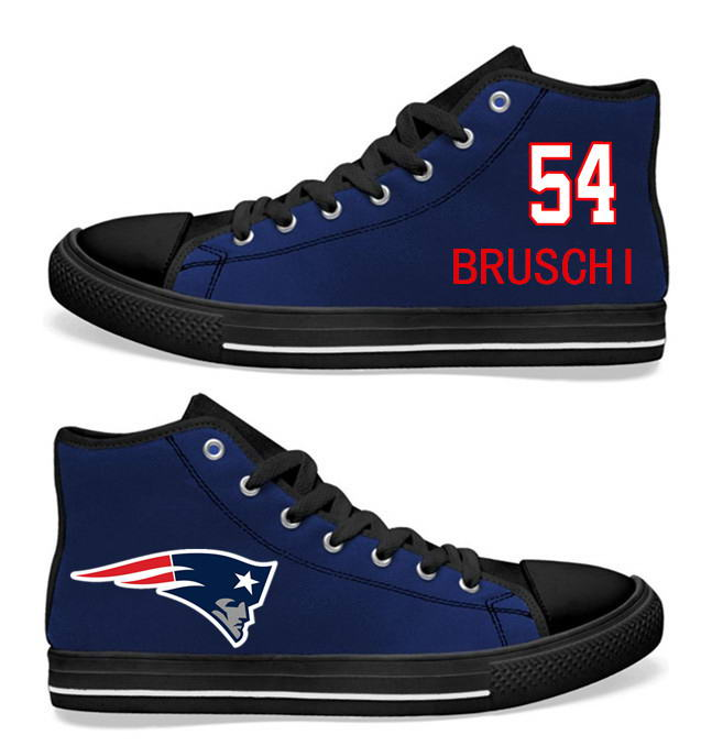 NFL New England Patriots 54# Dont'a Hightower black Blue Hand Painted Unisex Custom Centre-TOP Canvas Shoes