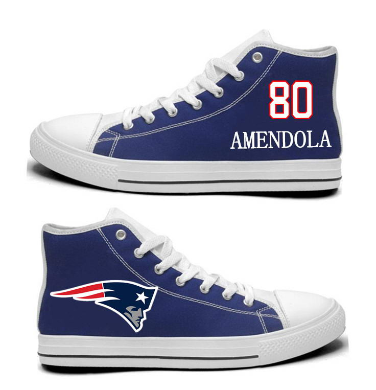 NFL New England Patriots 80#  Danny Amendola  Navy Blue Hand Painted Unisex Custom Centre-TOP Canvas Shoes
