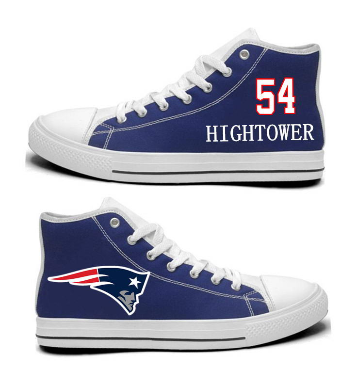 NFL New England Patriots 54# Dont'a Hightower Navy Blue Hand Painted Unisex Custom Centre-TOP Canvas Shoes