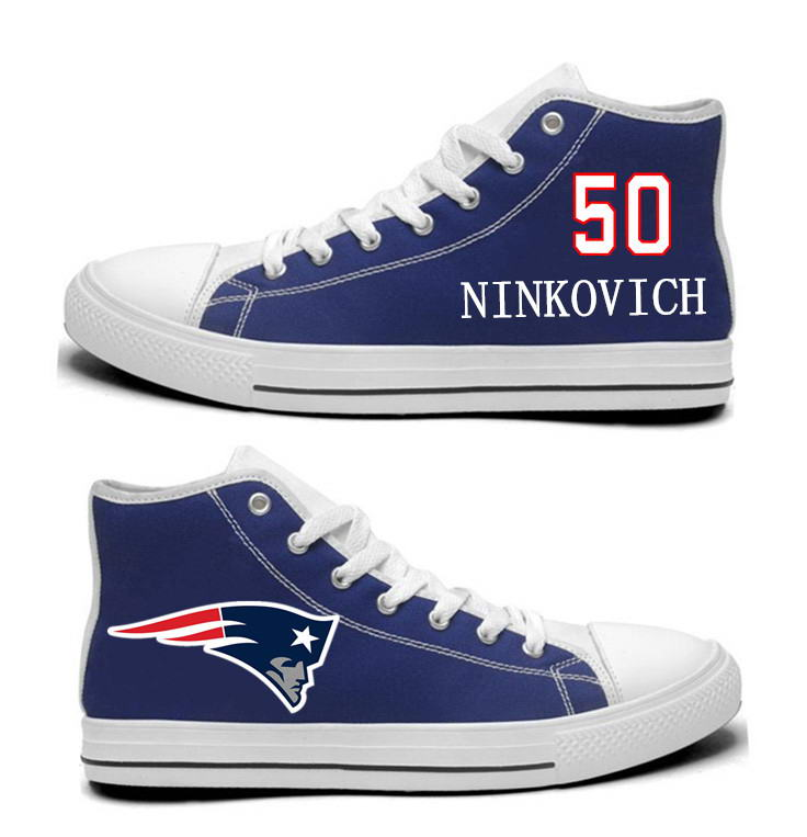 NFL New England Patriots 50# Rob Ninkovich  Navy Blue Hand Painted Unisex Custom Centre-TOP Canvas Shoes