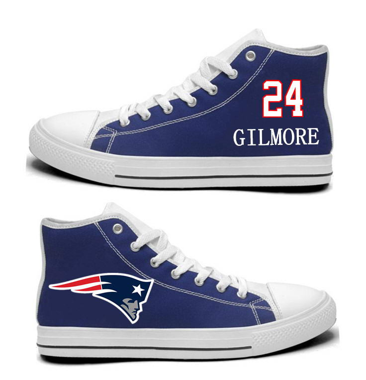 NFL New England Patriots 24# Stephon Gilmore Navy Blue Hand Painted Unisex Custom Centre-TOP Canvas Shoes