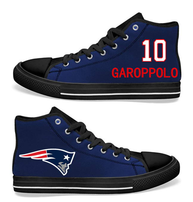 NFL New England Patriots 10# Jimmy Garoppolo black Blue Hand Painted Unisex Custom Centre-TOP Canvas Shoes
