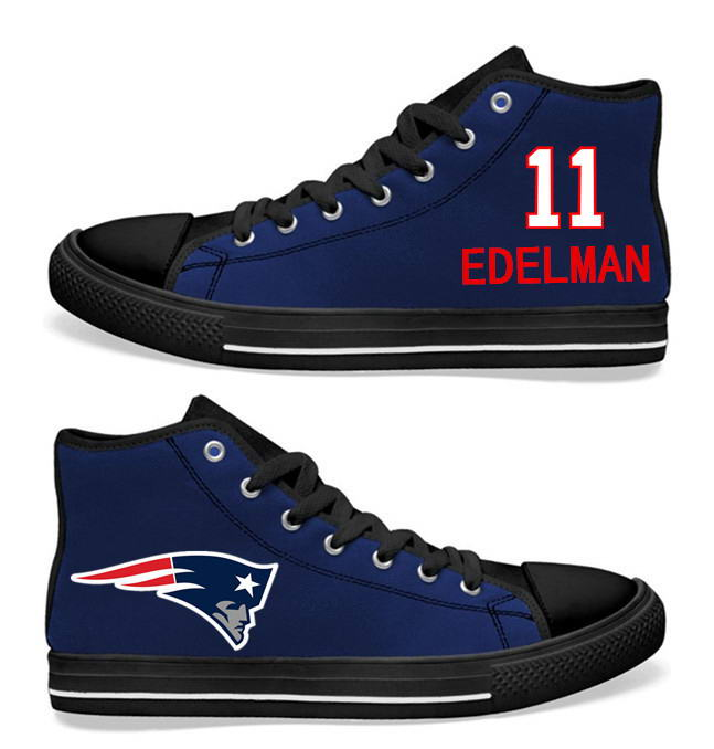 NFL New England Patriots11# Julian Edelman  black blue Hand Painted Unisex Custom Centre-TOP Canvas Shoes