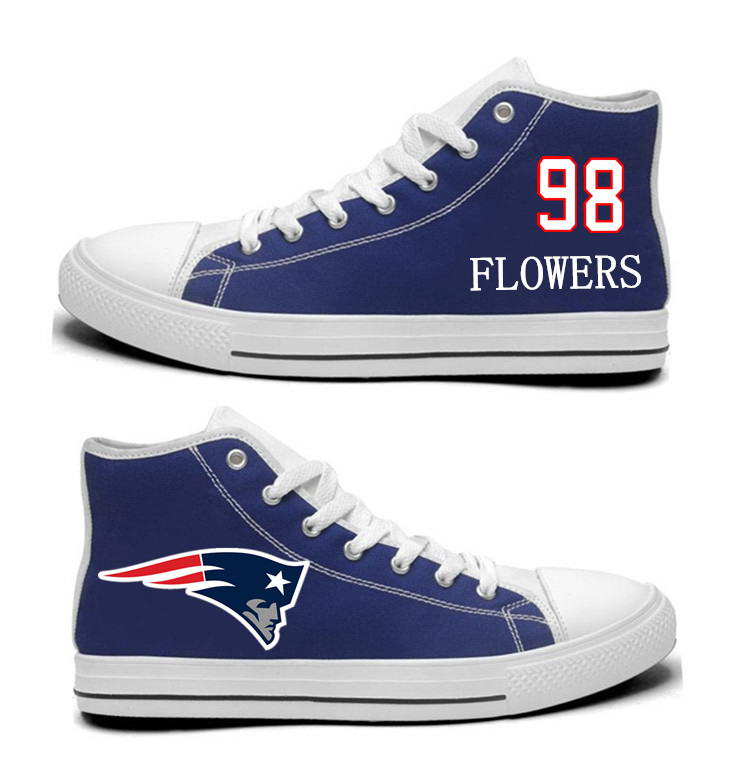 NFL New England Patriots 98# Trey Flowers Navy Blue Hand Painted Unisex Custom Centre-TOP Canvas Shoes