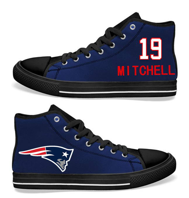 NFL New England Patriots 19# Malcolm Mitchell  black Blue Hand Painted Unisex Custom Centre-TOP Canvas Shoes