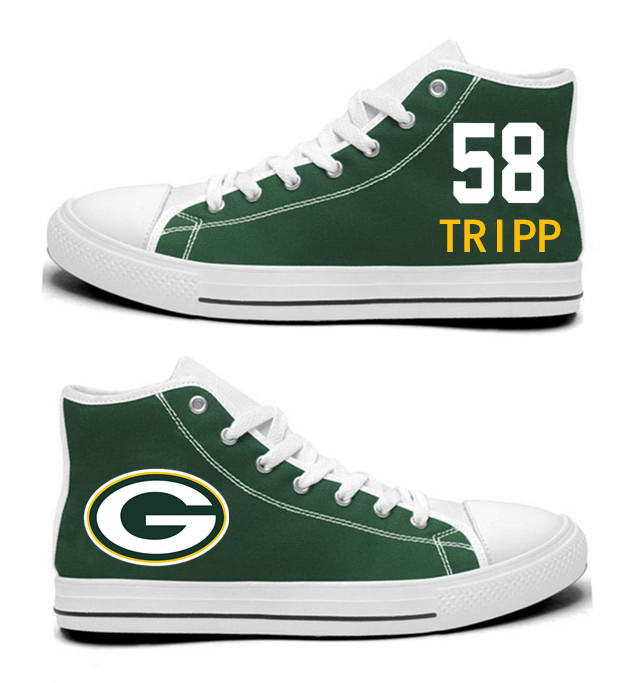 NFL Green Bay Packers 58#   Jordan Tripp  Green Hand Painted Unisex Custom Centre-TOP Canvas Shoes
