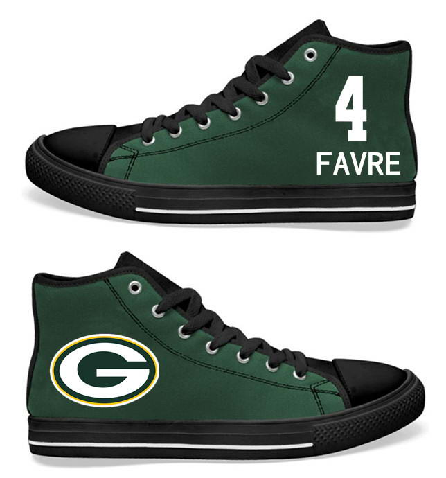 NFL Green Bay Packers 4# Brett Favre black Green Hand Painted Unisex Custom Centre-TOP Canvas Shoes