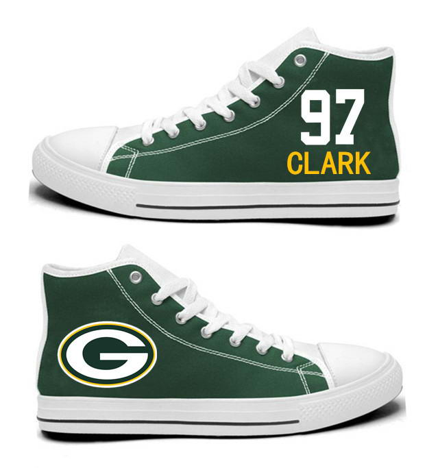 NFL Green Bay Packers 97#   Kenny Clark   Green Hand Painted Unisex Custom Centre-TOP Canvas Shoes