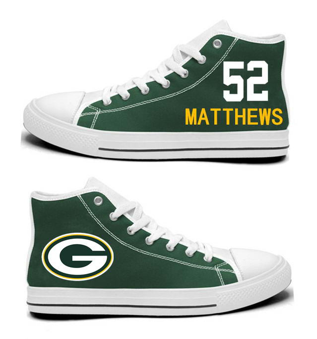 NFL  Green Bay Packers 52# Clay Matthews  Green Hand Painted Unisex Custom Centre-TOP Canvas Shoes