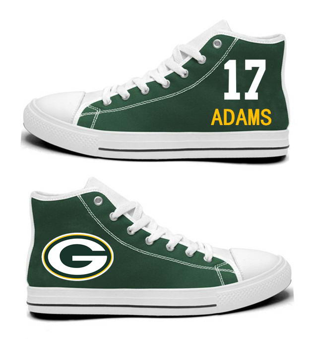NFL Green Bay Packers 17#  Davante Adams  Green Hand Painted Unisex Custom Centre-TOP Canvas Shoes