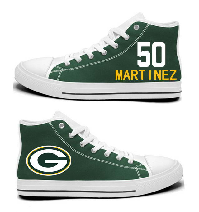 NFL Green Bay Packers 50#  Blake Martinez Green Hand Painted Unisex Custom Centre-TOP Canvas Shoes