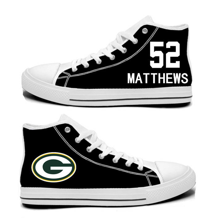 NFL  Green Bay Packers 52# Clay Matthews  black Hand Painted Unisex Custom Centre-TOP Canvas Shoes