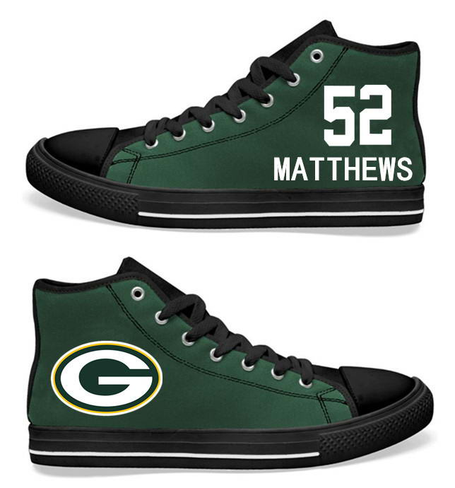 NFL  Green Bay Packers 52# Clay Matthews black Green Hand Painted Unisex Custom Centre-TOP Canvas Shoes