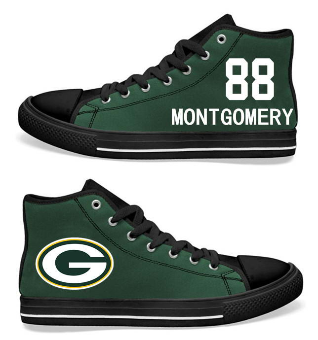 NFL Green Bay Packers 88# Ty Montgomery black Green Hand Painted Unisex Custom Centre-TOP Canvas Shoes
