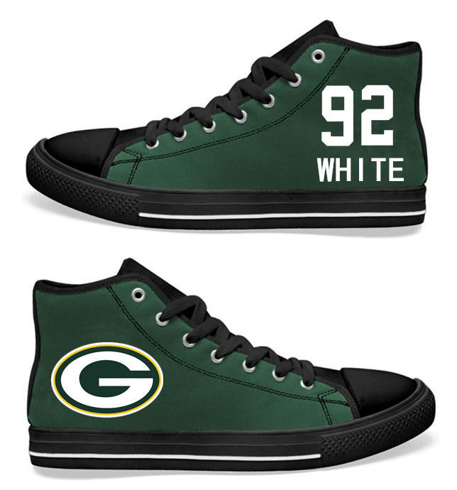 NFL Green Bay Packers 92# Reggie White  black Green Hand Painted Unisex Custom Centre-TOP Canvas Shoes