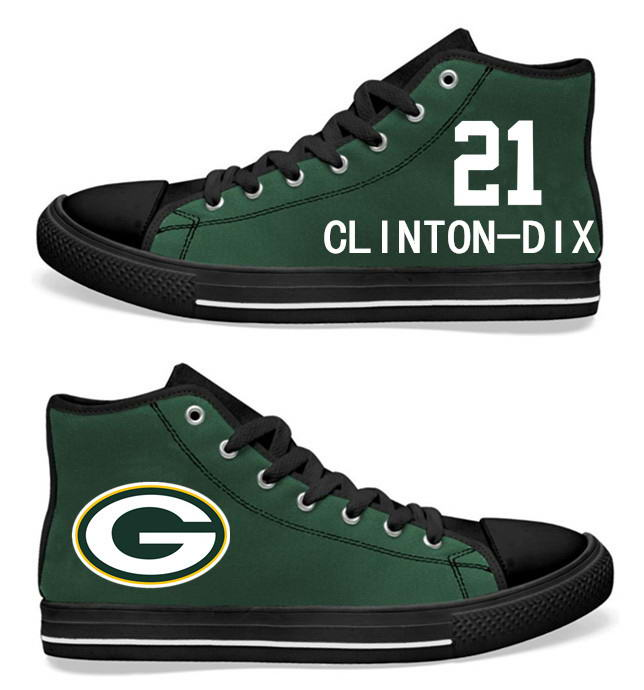 NFL Green Bay Packers 21# Ha Ha Clinton-Dix  black Green Hand Painted Unisex Custom Centre-TOP Canvas Shoes