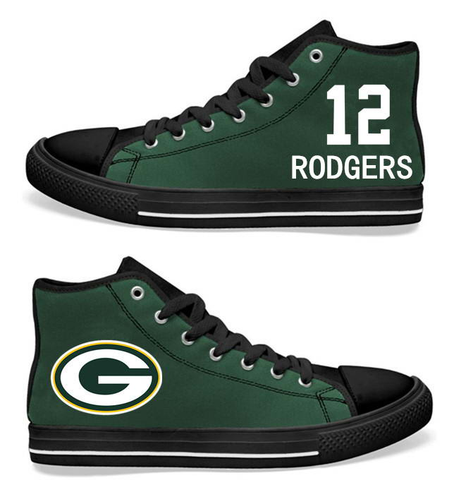 NFL  Green Bay Packers 12# Aaron Rodgers black green Hand Painted Unisex Custom Centre-TOP Canvas Shoes