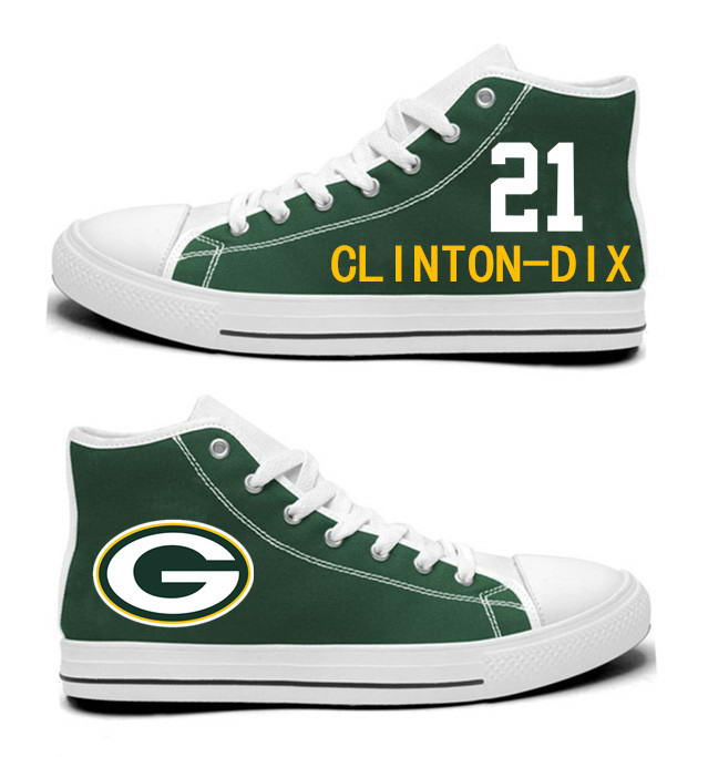 NFL Green Bay Packers 21# Ha Ha Clinton-Dix  Green Hand Painted Unisex Custom Centre-TOP Canvas Shoes