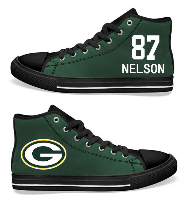 NFL  Green Bay Packers 87#  Jordy Nelson black Green Hand Painted Unisex Custom Centre-TOP Canvas Shoes