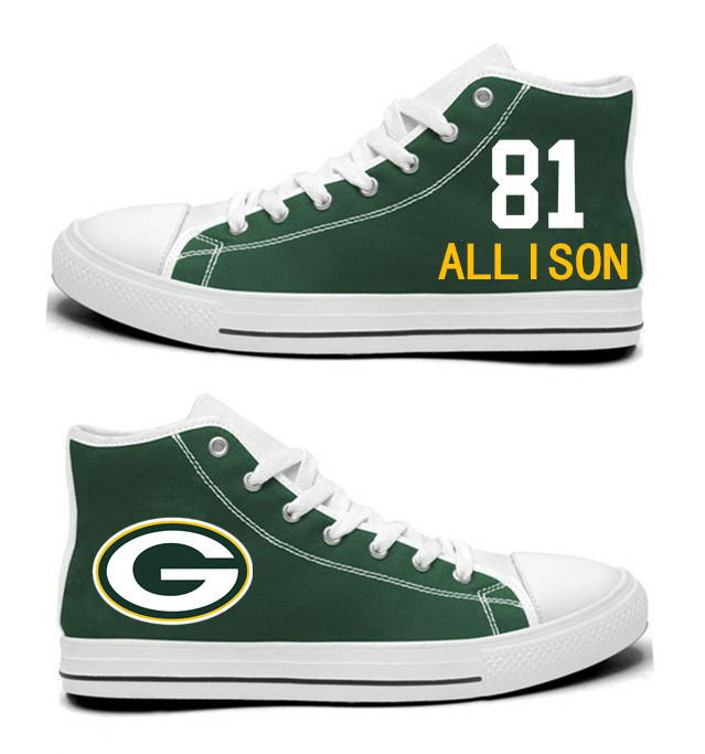 NFL Green Bay Packers 81#  Geronimo Allison   Green Hand Painted Unisex Custom Centre-TOP Canvas Shoes