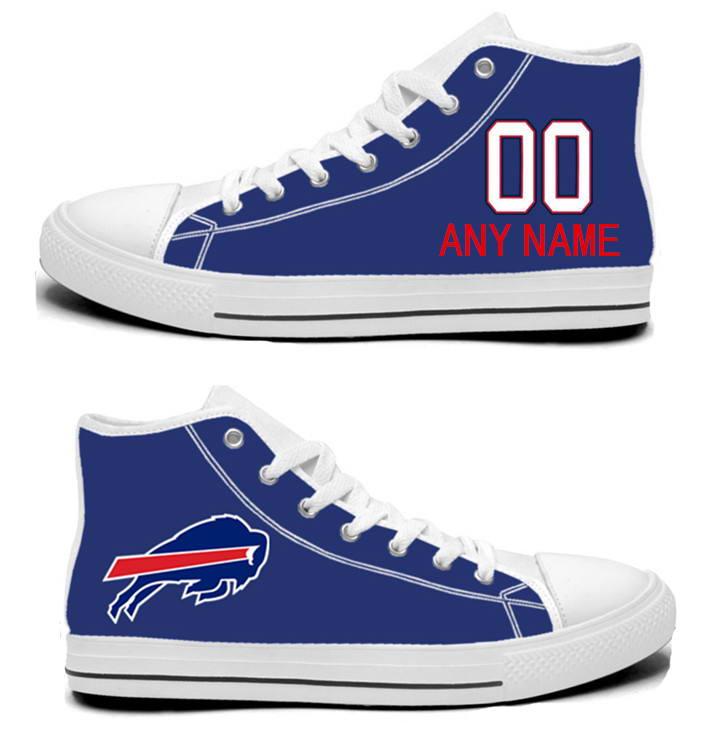 NFL Buffalo Bills Royal Blue Hand Painted Unisex Custom Centre-TOP Canvas Shoes
