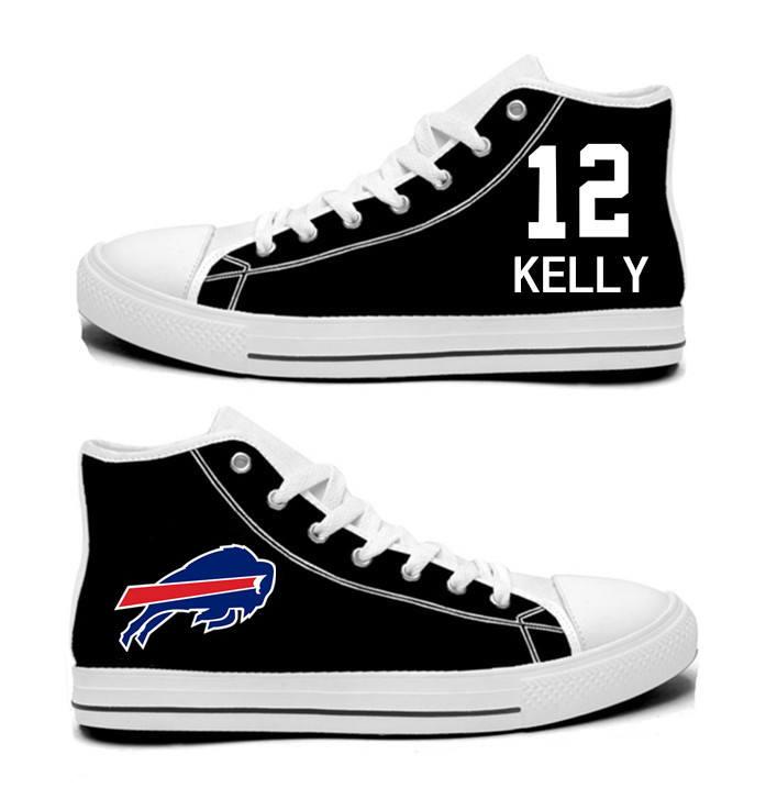 NFL Buffalo Bills 12# Jim Kelly black Hand Painted Unisex Custom Centre-TOP Canvas Shoes